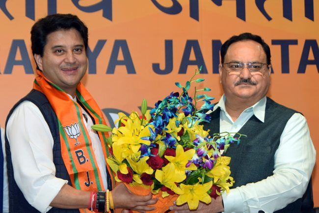 Jyotiraditya Scindia joins BJP Party in presence of BJP President J.P Nadda
