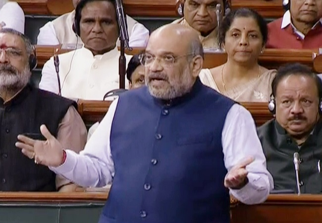 Union Home Minister Amit Shah speaks in Lok Sabha during the ongoing Budget Session