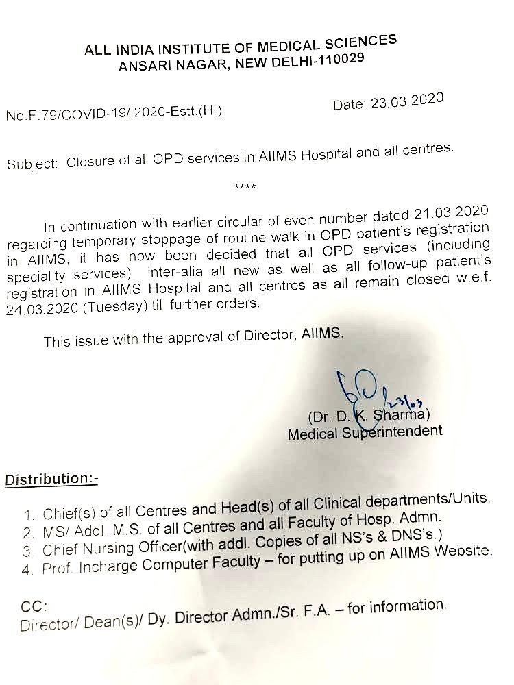 Aiims Letter