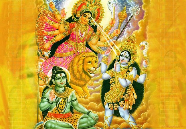 Lord Shiva With Maa Durga & Maa Kali