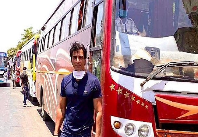 Sonu Sood With bus