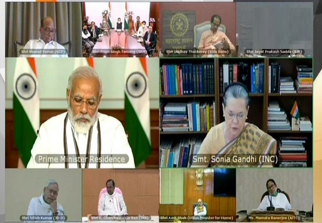 Narendra Modi All party meeting Sonia Gandhi and other