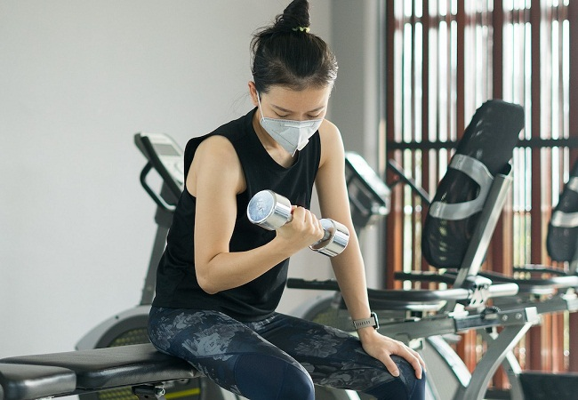 GYM With Mask Covid 19.
